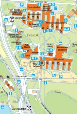 Map over the Frescati Campus
