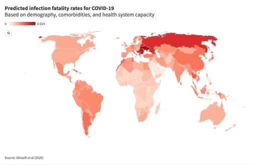 Map COVID-19 fatality rates
